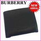 バーバリー 財布 レディース (メンズ可) BURBERRY 二つ折り財布 コンパクトサイズ ロゴ 中古 X5640