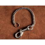 ウォレットチェーン ピストルナスカン(ショート)シルバー 32cm 喜平 ウォレットロープ ナスカン 二重リング キーチェーン 財布