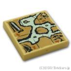 レゴブロック ばら売りパーツ タイル 2 x 2 - 水辺の地図 :タン