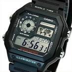 CASIO Standard カシオ スタンダード 世界地図表示ワールドタイム メンズ腕時計 ブラックラバーベルト 海外モデル AE-1200WH-1A