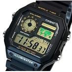 CASIO Standard カシオ スタンダード 世界地図表示ワールドタイム メンズ腕時計 ブラックラバーベルト 海外モデル AE-1200WH-1B