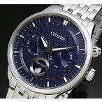 CITIZEN エコドライブ シチズン メンズ ソーラー腕時計 ムーンフェイズ ネイビー文字盤 メタルベルト MADE IN JAPAN 海外モデル AP1050-56L