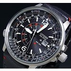 CITIZEN / PROMASTER Nighthawk シチズン / プロマスター ナイトホーク メンズ ソーラー腕時計 ブラック文字盤 グレーレザーベルト BJ7017-09E 海外モデル