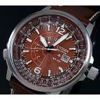 CITIZEN PROMASTER Nighthawk シチズン プロマスター ナイトホーク メンズ腕時計 ソーラー ブラウン文字盤 ブラウンレザーベルト BJ7017-17W 海外モデル