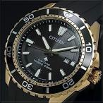 CITIZEN / PROMASTER シチズン / プロマスター メンズ腕時計 エコドライブ ダイバーズ ゴールドケース ブラック文字盤 ラバーベルト BN0193-17E 海外モデル