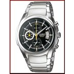 CASIO EDIFICE カシオ エディフィス クロノグラフ メンズ腕時計 コラムデイトカレンダー ブラック文字盤 メタルベルト EF-512D-1A 海外モデル