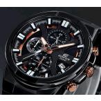 CASIO EDIFICE カシオ エディフィス クロノグラフ メンズ腕時計 ブラック/ローズゴールド文字盤 ブラックメタルベルト 海外モデル EFR-544BK-1A9