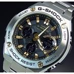 CASIO / G-SHOCK カシオ / Gショック G-STEEL / Gスチール ソーラー電波腕時計 メンズ ブラック/ゴールド文字盤 メタルベルト 海外モデル GST-W110D-1A9