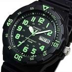 CASIO Standard カシオ スタンダード アナログクォーツ メンズ腕時計 ラバーベルト ブラック/グリーン文字盤 海外モデル MRW-200H-3B