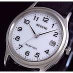 CITIZEN/REGUNO シチズン/レグノメンズ ソーラー腕時計 ホワイト文字盤 ブラックレザーベルト RS25-0033B 国内正規品