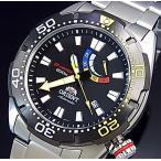 ORIENT M-FORCE オリエント エムフォース ダイバーズウォッチ メンズ腕時計 自動巻 ブラック文字盤 メタルベルト MADE IN JAPAN 海外モデル SEL0A001B0