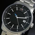 ORIENT スタイリッシュアンドスマート DISK 時針は型抜きディスク メンズ腕時計 自動巻 ブラック文字盤 メタルベルト MADE IN JAPAN SER0200BB0
