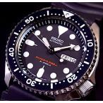 SEIKO / 200m diver's watch セイコー / 200m防水 ダイバーズ 自動巻 メンズ腕時計 ラバーベルト ブラック文字盤 MADE IN JAPAN SKX007J 海外モデル