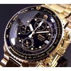 SEIKO / Alarm Chronograph セイコー / アラームクロノグラフ パイロット メンズ腕時計 ゴールド メタルベルト ブラック文字盤 SNA414P1 海外モデル