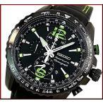 SEIKO/Sportura セイコー/スポーチュラメンズ腕時計 アラームクロノグラフ ブラック文字盤 ブラックレザーベルト SNAE97P1 海外モデル