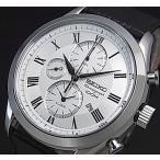 SEIKO Alarm Chronograph セイコー アラームクロノグラフ メンズ腕時計 シルバー文字盤 ブラックレザーベルト SNAF69P1 海外モデル