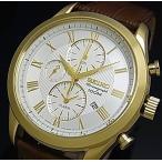SEIKO Alarm Chronograph セイコー アラームクロノグラフ メンズ腕時計 ゴールドケース シルバー文字盤 ブラウンレザーベルト SNAF72P1  海外モデル