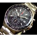 SEIKO / セイコー パイロット クロノグラフ メンズ腕時計 メタルベルト ブラック文字盤 SND253P1 海外モデル