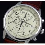 SEIKO / Chronograph セイコー / クロノグラフ メンズ腕時計 ブラウンレザーベルト アイボリー文字盤 SNDC31P1 海外モデル