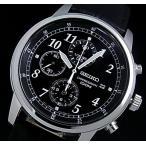 SEIKO / Chronograph セイコー / クロノグラフ メンズ腕時計 ブラックレザーベルト ブラック文字盤 SNDC33P1 海外モデル