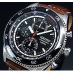 SEIKO / Chronograph セイコー / クロノグラフ メンズ腕時計 ブラックベゼル ブラウンレザーベルト ブラック文字盤 SNDG57P2 海外モデル