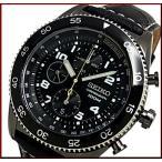 SEIKO Chronograph セイコー クロノグラフ メンズ腕時計 ブラックケース ブラックレザーベルト ブラック文字盤 SNDG61P1 海外モデル