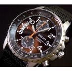 SEIKO / Chronograph セイコー / クロノグラフ メンズ腕時計 ダークブラウン文字盤 ナイロンベルト SNN079P2 海外モデル