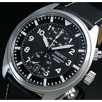 SEIKO / Chronograph セイコー / クロノグラフ メンズ腕時計 ブラックレザーベルト ブラック文字盤 SNN231P2 海外モデル