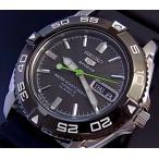 SEIKO / Sports セイコー5スポーツ / ファイブスポーツ 自動巻 メンズ腕時計 ラバーベルト ブラック文字盤 SNZB23J2 海外モデル