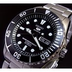 SEIKO / SEIKO5 Sports セイコー5スポーツ / ファイブスポーツ 自動巻 メンズ腕時計 メタルベルト ブラック文字盤 MADE IN JAPAN 海外モデル SNZF17J1