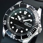 SEIKO SEIKO5 Sports セイコー5スポーツ ファイブスポーツ 自動巻 メンズ腕時計 ブラックラバーベルト ブラック文字盤 MADE IN JAPAN 海外モデル SNZF17J2