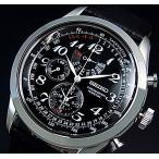 SEIKO / Alarm Chronograph セイコー / アラームクロノグラフ パーペチュアル メンズ腕時計 ブラックレザーベルト ブラック文字盤 SPC133P1 海外モデル