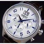 SEIKO / Chronograph セイコー / クロノグラフ メンズ腕時計 グレーレザーベルト シルバー/ブルー文字盤 SPC155P1 海外モデル