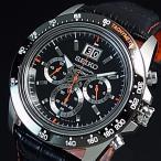 SEIKO / LORD セイコー / ロード クロノグラフ メンズ腕時計 ブラック/オレンジレザーベルト ブラック文字盤 海外モデル SPC237P1