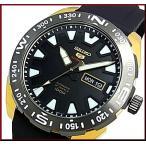 SEIKO SEIKO5Sports セイコー5スポーツ ファイブスポーツ 自動巻 メンズ腕時計 ゴールドケース ブラックラバーベルト ブラック文字盤 SRP750K1 海外モデル
