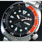 SEIKO PROSPEX セイコー プロスペックス 200m防水 ダイバーズ 自動巻 メンズ腕時計 ブラック/レッドベゼル メタルベルト ブラック文字盤 海外モデル SRP789K1