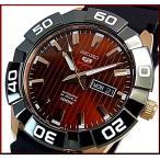 SEIKO SEIKO5Sports セイコー5スポーツ ファイブスポーツ 自動巻 メンズ腕時計 ブラックラバーベルト ワインレッド/ゴールド文字盤 海外モデル SRPA58K1