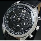SEIKO Chronograph セイコー クロノグラフ メンズ腕時計 ブラックレザーベルト ブラック文字盤 SSB097P1 海外モデル