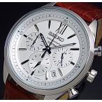 SEIKO Chronograph セイコー クロノグラフ メンズ腕時計 ブラウンレザーベルト シルバー文字盤 SSB157P1 海外モデル