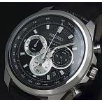 SEIKO Chronograph セイコー クロノグラフ メンズ腕時計 ブラックレザーベルト ブラック文字盤 海外モデル SSB249P1