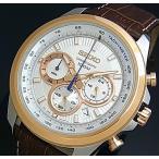 SEIKO Chronograph セイコー クロノグラフ メンズ腕時計 ブラウンレザーベルト シルバー/ピンクゴールド文字盤 海外モデル SSB250P1