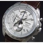 SEIKO Chronograph セイコー クロノグラフ メンズ腕時計 ブラウンレザーベルト シルバー文字盤 海外モデル SSB263P1