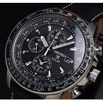 SEIKO / Alarm Chronograph セイコー / アラームクロノグラフ パイロット メンズ ソーラー腕時計 ブラックレザーベルト ブラック文字盤 SSC009P3 海外モデル