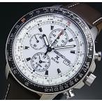 SEIKO Alarm Chronograph セイコー プロスペックス アラームクロノ パイロット メンズ ソーラー腕時計 ブラウンレザー ホワイト文字盤 SSC013P1 海外モデル