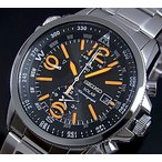 SEIKO Alarm Chronograph セイコー アラームクロノグラフ メンズ ソーラー腕時計 メタルベルト ブラック/オレンジ文字盤 SSC077P1 海外モデル