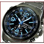 SEIKO / Alarm Chronograph セイコー / アラームクロノグラフ メンズ ソーラー腕時計 ブラックメタルベルト ブラック/ブルー文字盤 SSC079P1 海外モデル