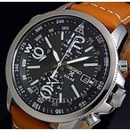 SEIKO PROSPEX セイコー プロスペックス アラームクロノグラフ メンズ ソーラー腕時計 ブラウンレザーベルト ブラック文字盤 SSC081P1 海外モデル