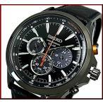 SEIKO Chronograph セイコー クロノグラフ メンズ ソーラー腕時計 ブラックレザーベルト ブラック文字盤 海外モデル SSC499P1