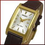 ORIENT オリエント スタンダード クォーツ レディース腕時計 ゴールドケース シルバー文字盤 ブラウンレザーベルト Made in JAPAN SUBUG004W0