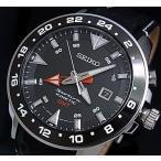 SEIKO / Sportura セイコー / スポーチュラ メンズ腕時計 キネテック GMT ブラック文字盤 ブラックレザーベルト SUN015P2  海外モデル
